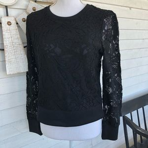 NWT Long Sleeve Black Lace Top